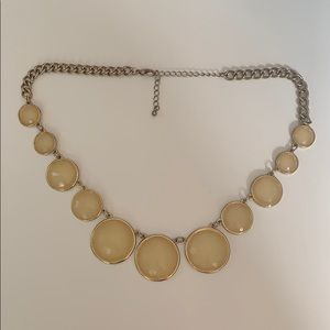 Francesca's Beige and Gold Statement Necklace